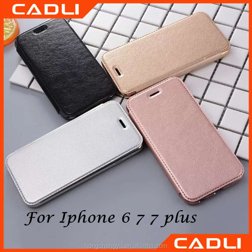 New Fashion Leather Electroplating TPU Back Cover Flip Phone Cases for iphone 7 7 plus