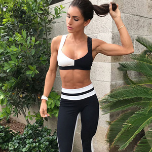 3ed4c496b9 2018 Wholesale Tight Fitness Clothing Black and White Gym Bra Sportswear  Sets Women Yoga Wear