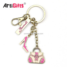 Wholesale beautiful design metal bag charms keyrings for women