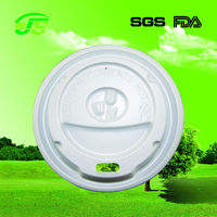 8oz 80mm disposable paper cup lid with hole white and black HIPS