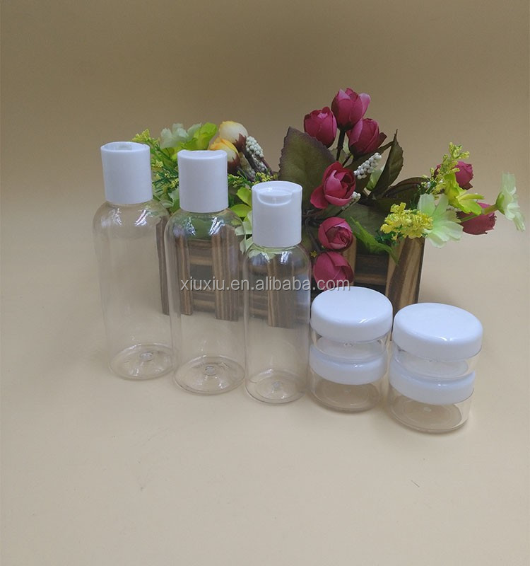 30ml 50ml 100ml travel set pet bottles with mini 5g 8g 10g pet cream jar