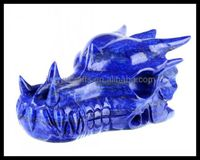 Wholesale Natural Gemstone Rock Crystal Hand Carved Animal Decorated Blue Lapis Lazuli Dragon Skull /Skeleton Carvings