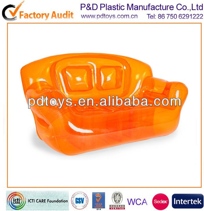 6P PVC orange inflatable divan,sofa,chair