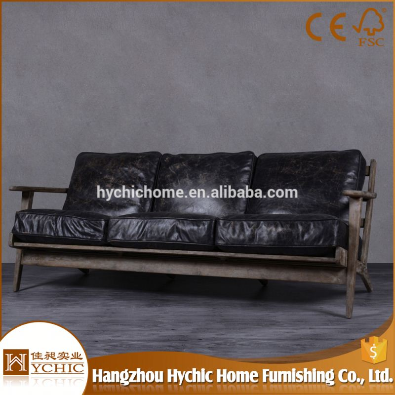 Restaurant sofa day bed double chinese black leather sofa