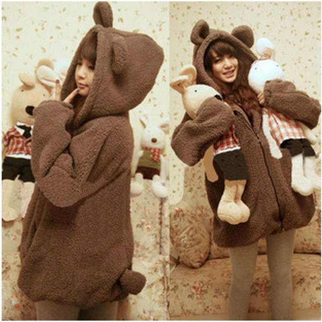 2017 Korean bear rabbit with ears and tail cartoon plush velvet coat Hoodie