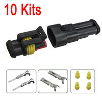2016 Brand New 10sets Car Part 2 Pin Way Sealed Waterproof Electrical Wire Auto Connector Plug Set
