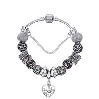 European Ribbon Charm Bracelet for Women Luxury Brand Crystal Beads Snake Chain Bracelets Silver Color Jewelry 2017