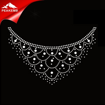 iron on rhinestone neckline appliques for clothing