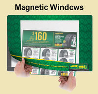 Interchangeable window magnetic lift top counter mats