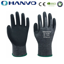 HANVO 13G black cut 5 HPPE spandex glass fiber glove with micro foam nitrile coating gloves