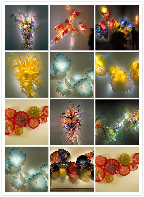 Wholesale 100% Hand Blown Blue Murano Glass Modern Art Chandelier Chihuly Style LED Bulbs Villa Decor Chandeliers