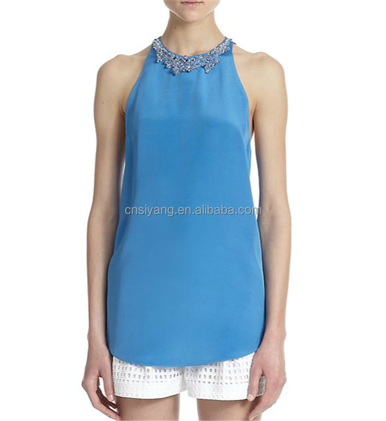 2015 women's summer halter neck with beaded design royale blue chiffon tops SYA15317