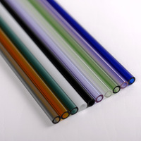 Premium Straight Glass Straws Set 6