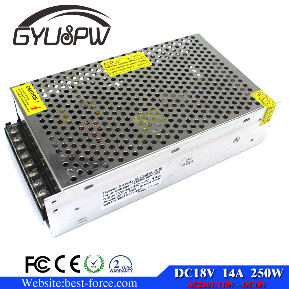 DC 18V 14A 250W Switchig Switch Power Supply Converter Transformers 110V 220V AC To DC18V UPS for <strong>LED</strong> Strip Light 3D Printer CNC