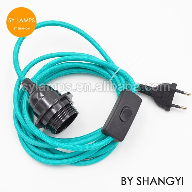 Plug cord set - CE 2pin plug and 303 switch half thread bakelite lamp holder for bulb plug pendant lamp