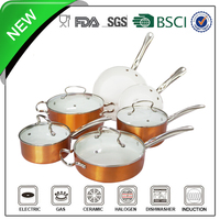 10pcs orange nano cookware with stainless steel handle