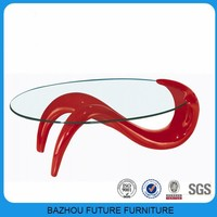 Living room furniture top clear oval glass fancy coffee table