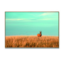 Whitetail Deer In The Bushes Painting Animal Wildlife Canvas Wall Art Gallery Wrapped Blue Sky Landescape Pictur Print