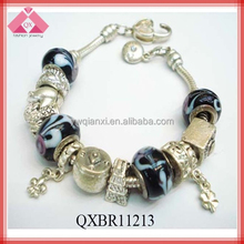 Fashion Alloy Stretch Glass Beaded Chain Snap Colorful Bracelet (QXBR11213)