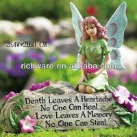 Hot sale beautiful resin multi-color angel cemetery monuments