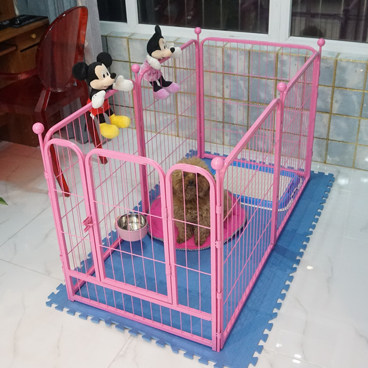 6 panels metal dog fence exercise pen pet playpen with door