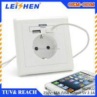 EURO USB Wall Socket 220V EU One gang two way electrical switch socket ,hot sale euro type
