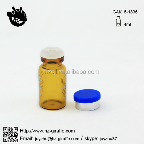 GAK15-1835 4ml amber sterile glass bottle for steroids with silicon rubber stopper and flip off cap