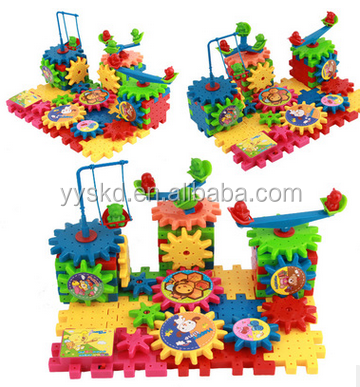 hot sell funny educational 81pcs gear building block toys funny bricks
