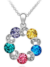 Luxury high quality jewelry metal diamond round <strong>necklace</strong> for wedding gift wholesale