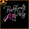 Newest Bachelorette Party iron on wine rhinestone transfers for garment