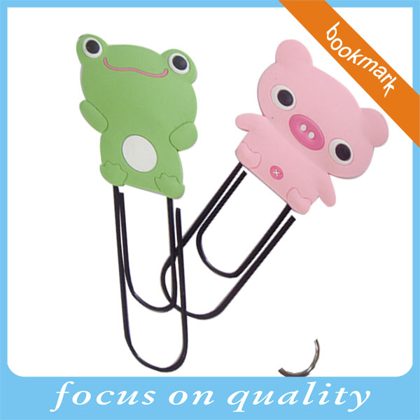 high quality micro injection convex customized emossed 3d cute cartoon animal soft pvc bookmark