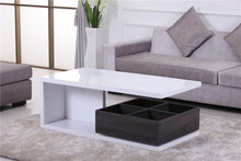Modern design white high gloss wooden coffee table with drawers