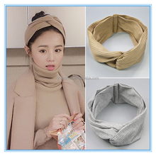 Han sweet simple knot knitted caps,Wide-brimmed cross hair ribbon cotton headdress
