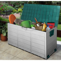 Garden Tool Box with handles and wheels plastic garden storage box