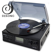 Desonic OEM turntable vinyl record player with usb sd encode cassette bluetooth radio