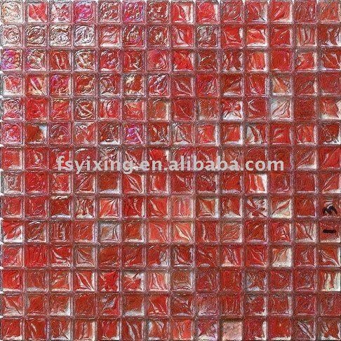 decorative glass mosaic tile,red thickness 8mm recycled glass tiles Foshan Mosaic Wholesale glass for mosaic