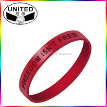Debossed color filled rubber wrist bands cheap bracelet custom silicone