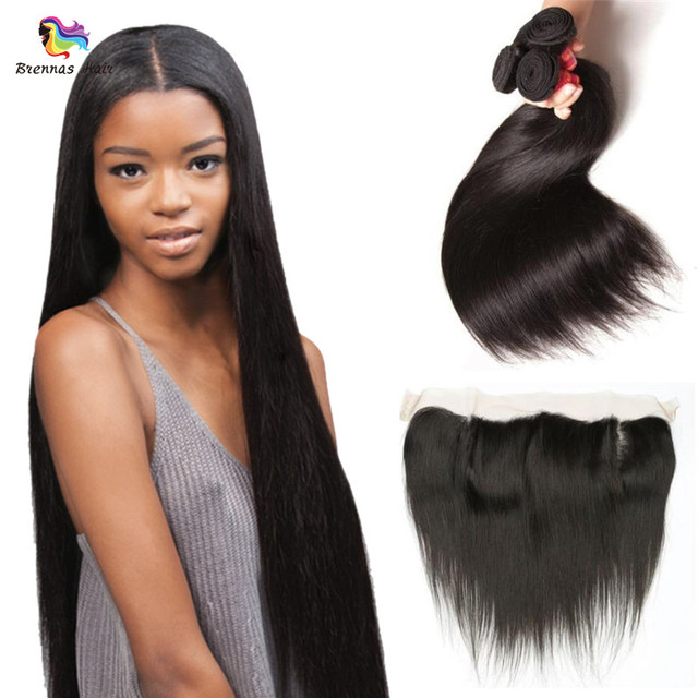 Large Stocks Color 1B Peruvian Malaysian Straight Human Hair Weaving Extensions With 13*4 Lace Closure