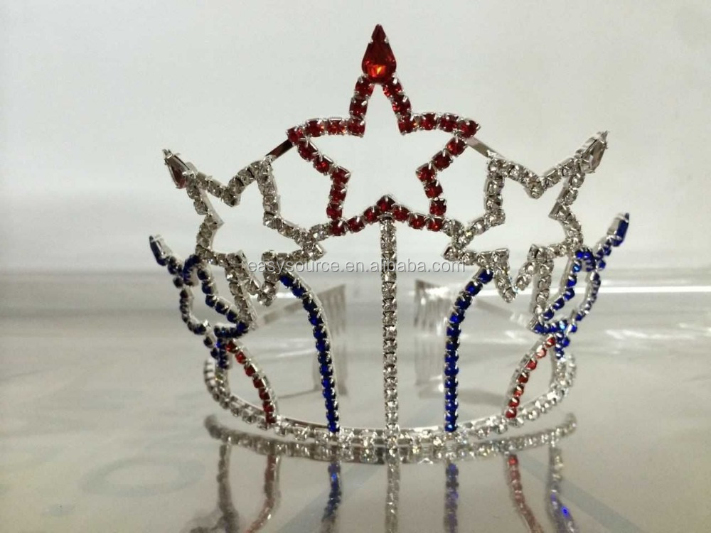 wholesale OEM headband alloy crown personalized party and evening supplie crystal rhinestone colored star tiara