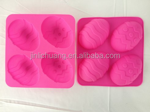FDA/LFGB 4 Cavities Easter Egg Silicone Cake Mold