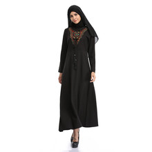 Koreal Linen black abaya muslim dress 2017