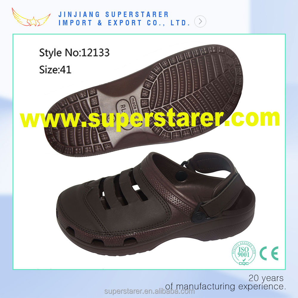 brown color eva clog slippers with genuine leather upper clog shoes