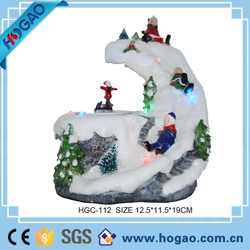 Customized Resin Led Christmas House With Kids Play Snow As Gift