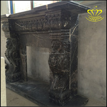 Elegant black Marble Fireplace Mantel Featured Sitting Lions decor Design