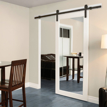 Hotel project white painted wood frame sliding mirror doors
