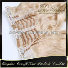 Top quality Grade AAAAA Wholesale double drawn white clip in hair extensions