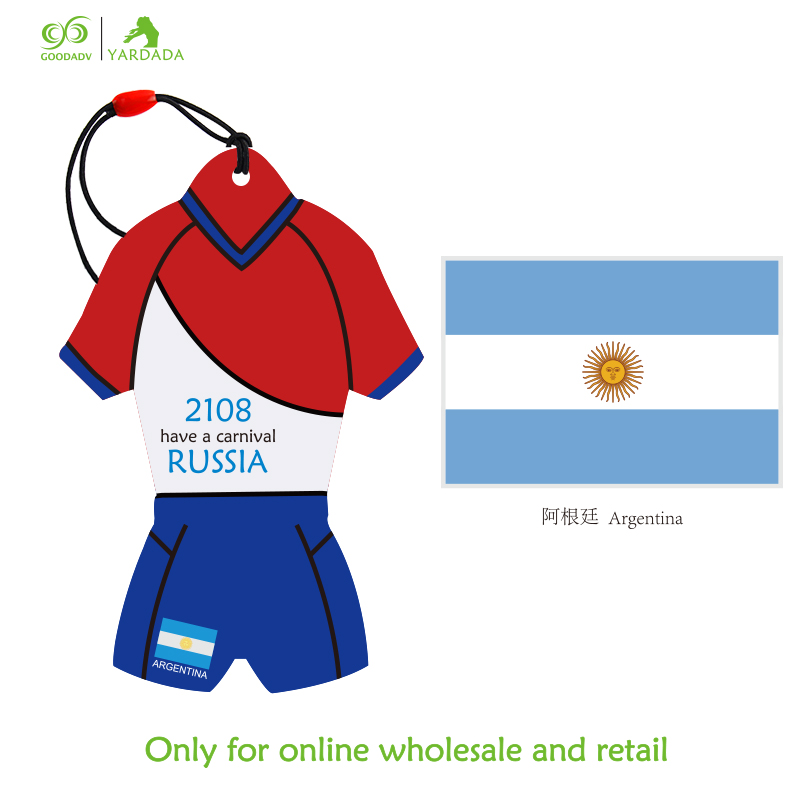 Argentina National Flag Football Cup 2018 novelty T-shirt shape, hanging air freshener, hot sell new design