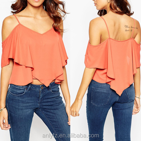 Manufacturers top new arrival women cold shoulder frill front sexy spaghetti strap top for women