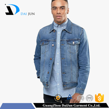 Daijun OEM China factory light blue denim popper button plain custom men jean jacket wholesale