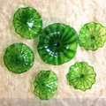 Green color murano glass plates wall hanging art home decoration modern